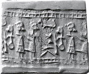 Cylinder seal and modern impression: figure seated at a table approached by two other figures