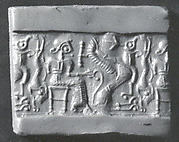 Cylinder seal: seated figure holding the tail of a griffin