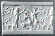 Cylinder seal: lion and sphinx over an antelope