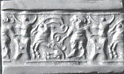 Cylinder seal: man grasping an antelope, bull&amp;#39;s head over ingot