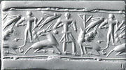 Cylinder seal: man, goat, griffin, nude figure, and &quot;impaled triangle&quot;