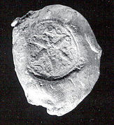 Sealing with stamp seal impressions: radiating griffins; banquet scene