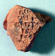 Cuneiform tablet: fragment of an exercise tablet