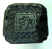Square shaped stamp seal with loop handles
