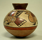 Collared jar with birds