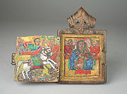 Pendant Icon: St. George, Virgin and Child Enthroned