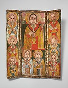 Icon Triptych: Ewost' atéwos and Eight of His Disciples