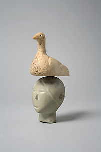 Stone Head Surmounted by Ivory Bird