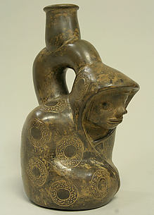 Stirrup Spout Bottle; Kneeling Figure