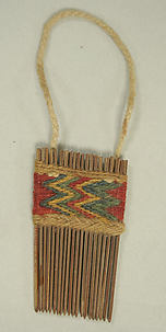 Wooden Comb with Woolen Decoration