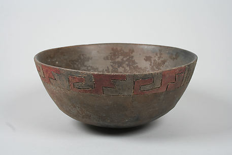 Painted bowl with geometric pattern