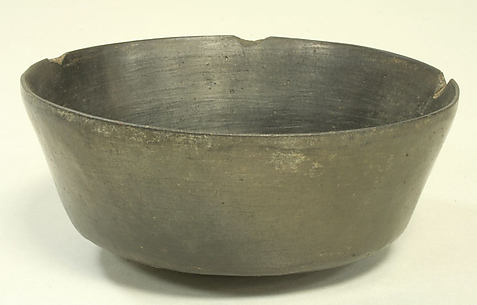Blackware Bowl with Fish and Scroll Motif