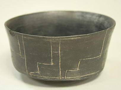 Blackware Bowl with Stepped Design