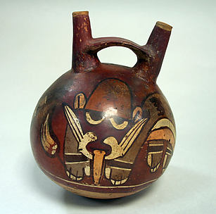 Double Spout and Bridge Bottle with Faces
