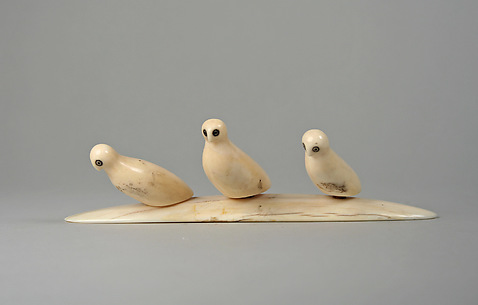 Three Ivory Owls on Base