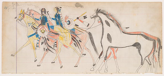 Cheyenne Tribe Ledger Painting