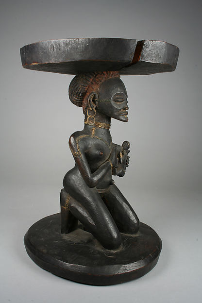 Prestige Stool: Mother and Child Caryatid