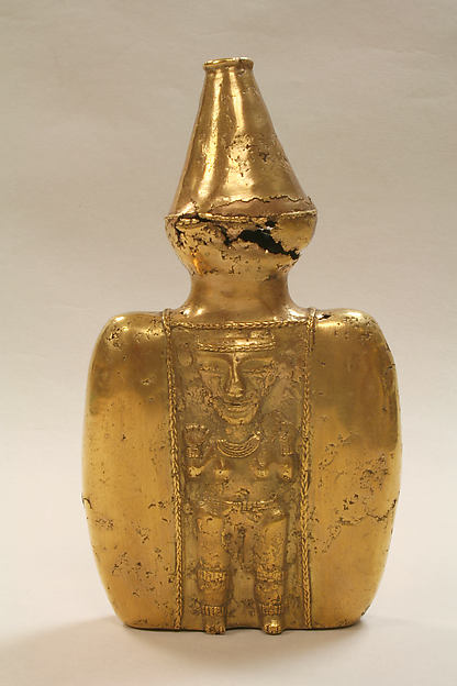 Gold Lime Container with Figure