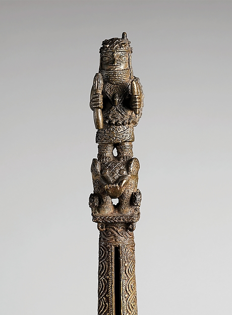 Rattle Staff: Oba Akenzua I Standing on an Elephant (Ukhurhe)