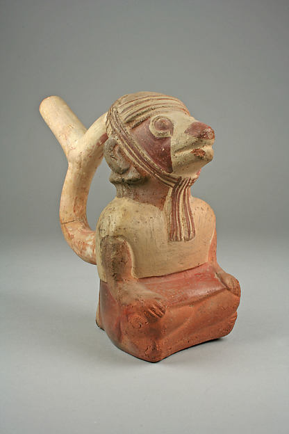 Stirrup spout bottle with fox-warrior figure