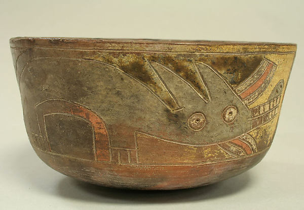 False Bottomed Bowl with Fox and Animal Motifs