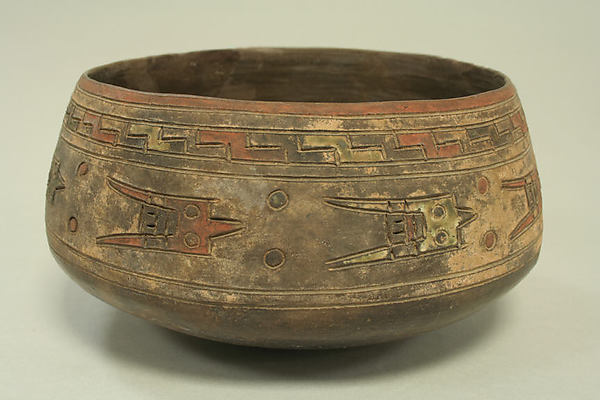Incised Painted Bowl with Birds