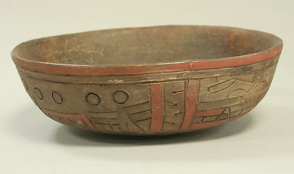 Incised Painted Bowl with Felines