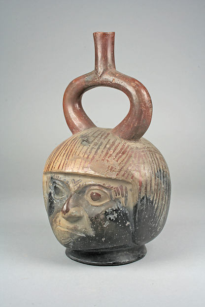 Stirrup Spout Bottle with Portrait Head
