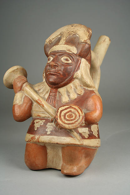 Stirrup Spout Bottle with Warrior Figure