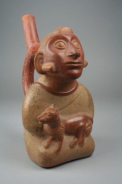 Stirrup Spout Bottle with Figure Holding Feline