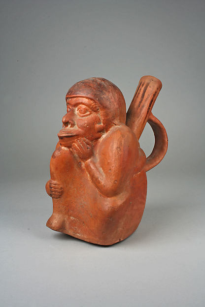 Single Spout Monkey Figure Bottle with Strap Handle