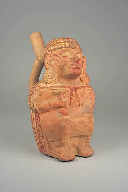 Stirrup Spout Bottle with Figure
