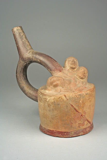 Stirrup Spout Bottle with Figures
