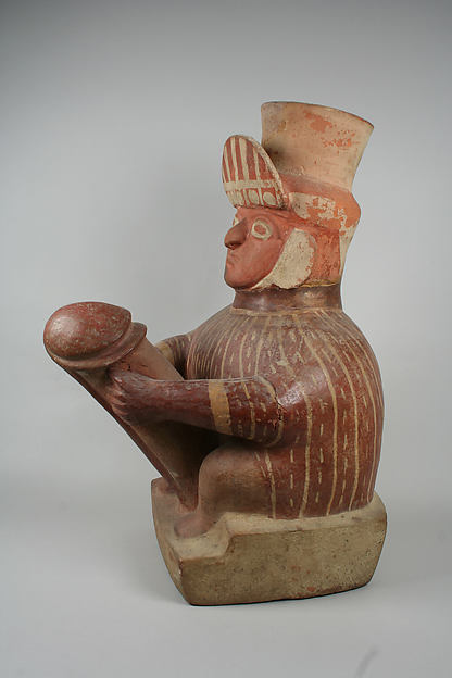 Stirrup Spout Bottle with Phallic Figure