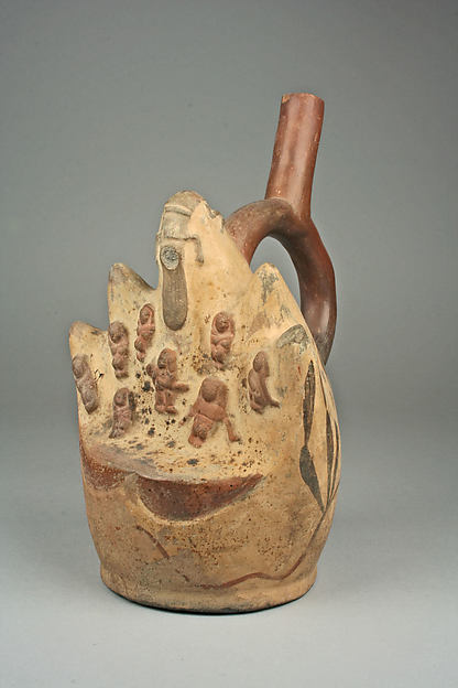 Stirrup Spout Bottle with Painted Cactus Forms