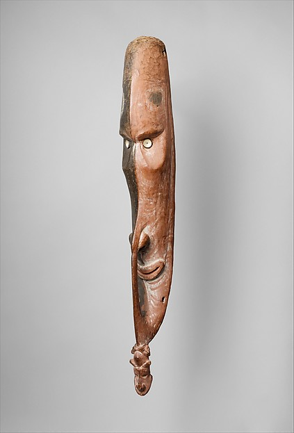 Object Type: Mask Indigenous Name: Mai Location: Papua New Guinea, Iatmul People Date: Late 19th – Early 20th Century Materials: Wood, paint, fish vertebrae Dimensions: H. 28 x W. 3 7/8 x D. 4 3/16 in. Source: The Metropolitan Museum of Art 1979.206.1480