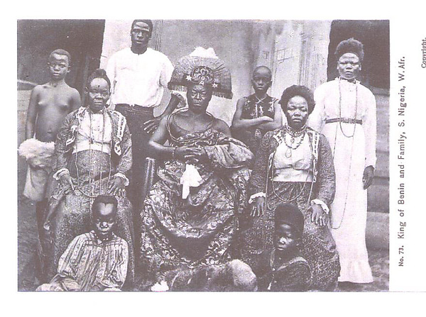 The king of Benin and family (Oba Ovonrramwen Nogbaisi, r. 1888-1914)