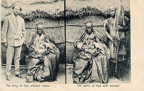 The king of Oyo without a crown / The alafin of Oyo with servant [Adeyemi I Alowolodu, r. 1876-1905]