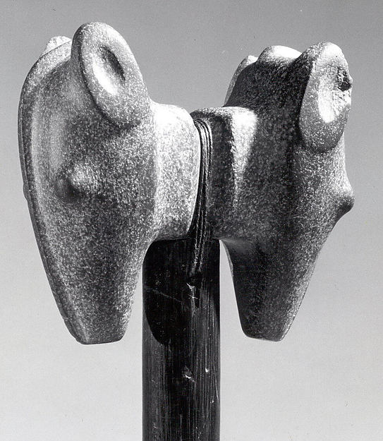 Stone Janus Mace Head