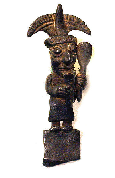Copper Tumi Fragment with Figure