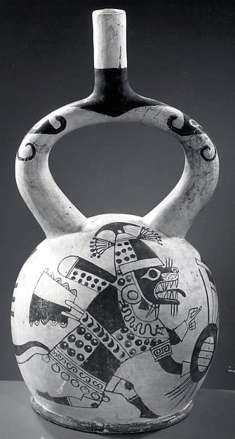 Stirrup spout bottle with fox warrior figure