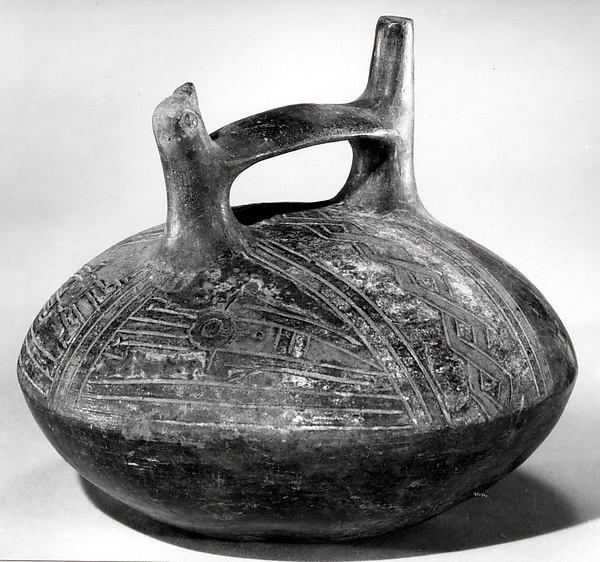 Double Spout and Bridge Bottle with Bird