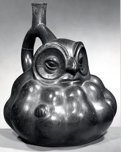 Stirrup Spout Bottle with Owl