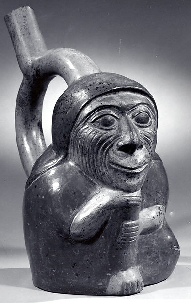 Stirrup Spout Bottle with Wrinkled Face