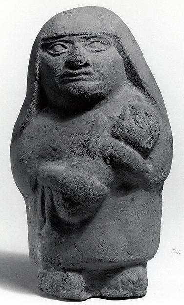 Standing Ceramic Figure with Child