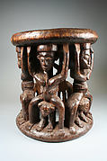Prestige Stool: Leopards and Female Figures
