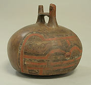 Double Spout and Bridge Bottle with Feline and Bird