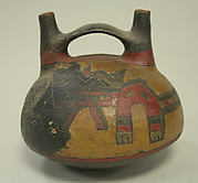 Double Spout and Bridge Bottle with Incised Design