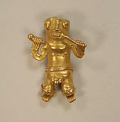Cast Gold Pendant of Man with Flute