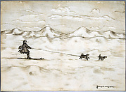 """Man Skiing with Dogs"""